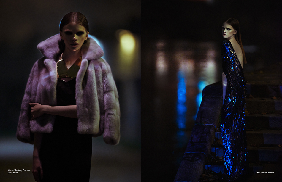 Left Dress / Burberry Prorsum Fur / Liska Right Dress / Talbot Runhof
