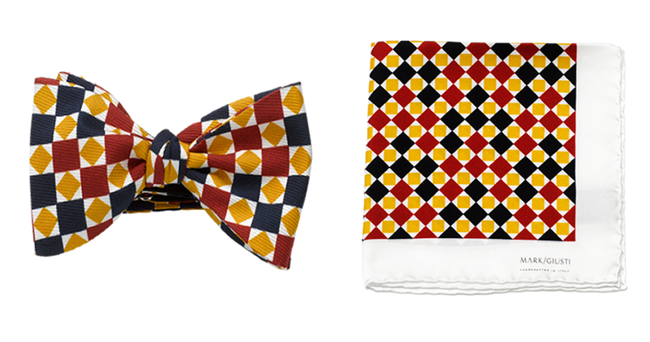 "The ""Roma"" Mosaic Bow Tie and the ""Roma"" Mosaic Pocket Square are the perfect accessories for every man this Christmas. They work beautifully alone, but once combined they work in harmony to create an outfit that will take you through each social event you have this festive season and throughout the year."