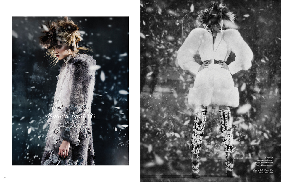 Left Studded bodysuit / Amato Haute Couture Coat / Thom Browne Right Coat & belt / Jason Wu Boots / Tom Ford