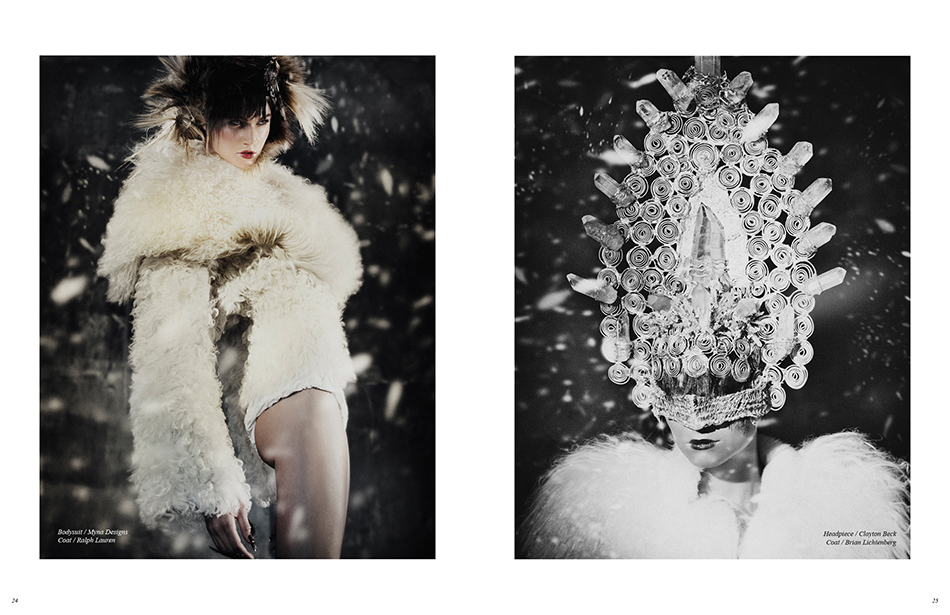 Left Bodysuit / Myna Designs Coat / Ralph Lauren Right Headpiece / Clayton Beck Coat / Brian Lichtenberg
