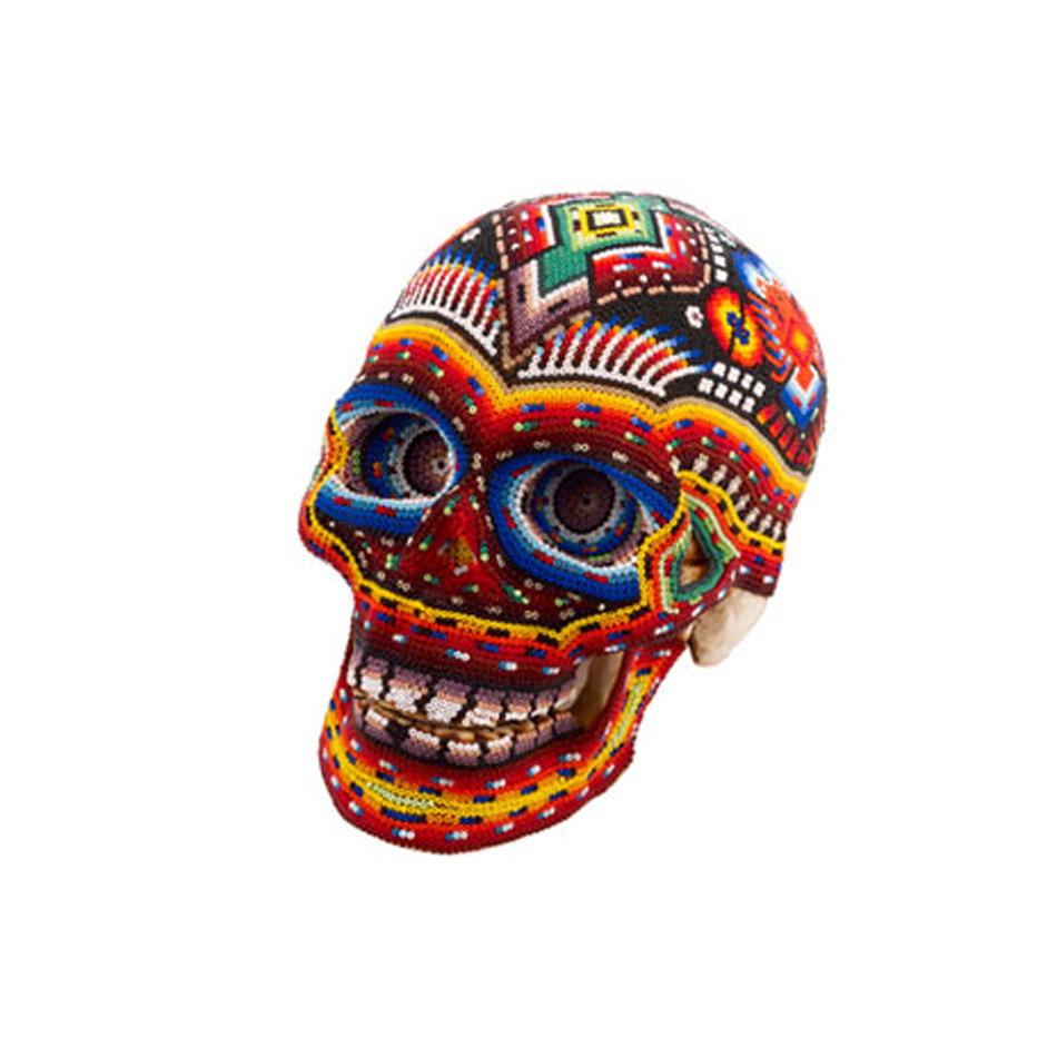 Huichol Indian art skull / The British Museum