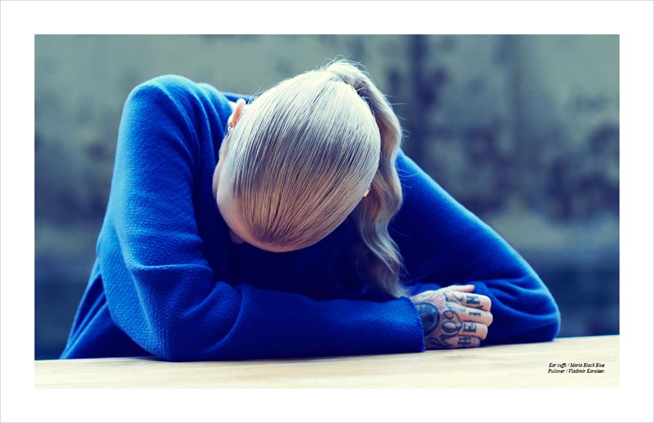 Ear cuffs / Maria Black Blue Pullover / Vladimir Karaleev