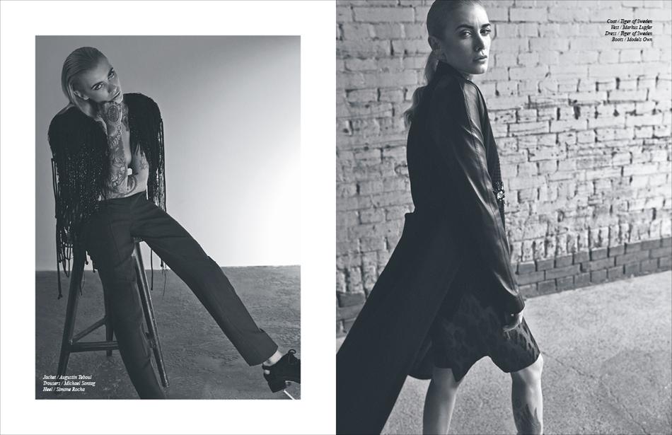 Left Jacket / Augustin Teboul Trousers / Michael Sontag Heel / Simone Rocha Right Coat / Tiger of Sweden Vest / Markus Lupfer Dress / Tiger of Sweden Boots / Models Own