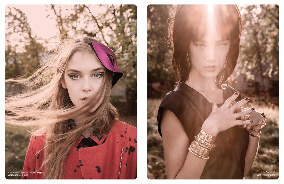 Left Coat & shirt / Preen by Thornton Bregazzi Head piece / Lola Hats Right Dress / Joie Cuffs / Jennifer Fisher
