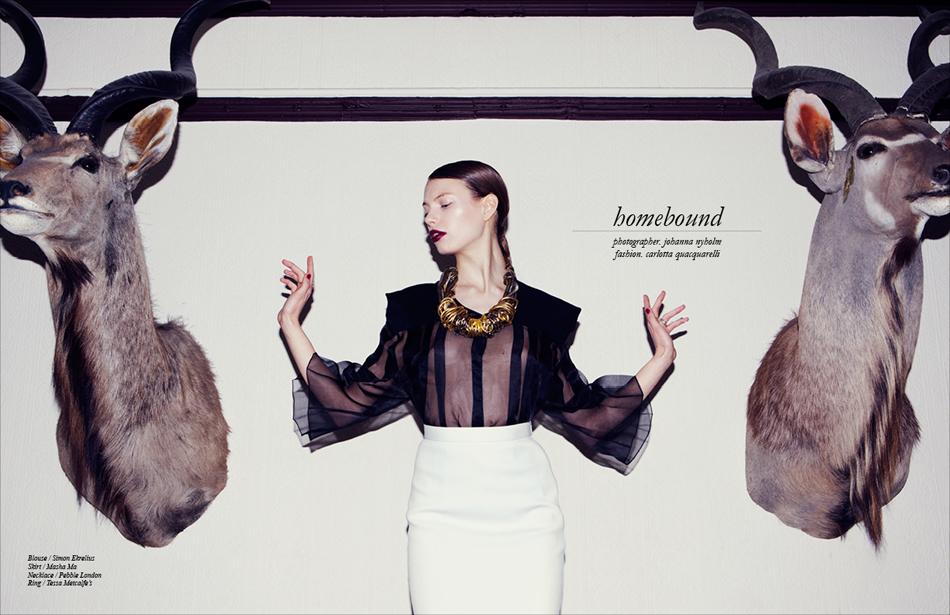 Blouse / Simon Ekrelius Skirt / Masha Ma Necklace / Pebble London Ring / Tessa Metcalfe's