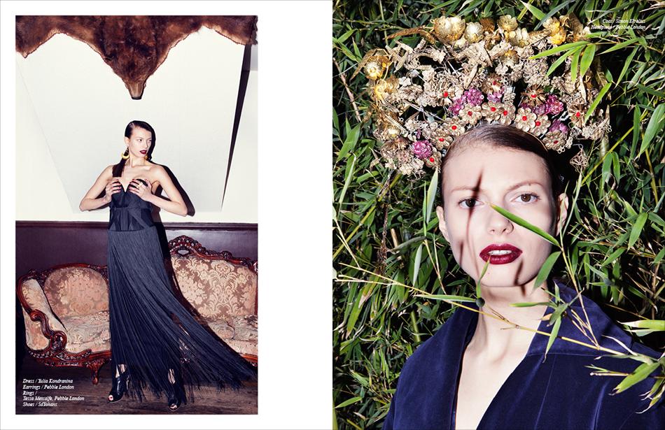 Left Dress / Yulia Kondranina Earrings / Pebble London Rings / Tessa Metcalfe, Pebble London Shoes / SdYohans Right Coat / Simon Ekrelius Headpiece / Pebble London