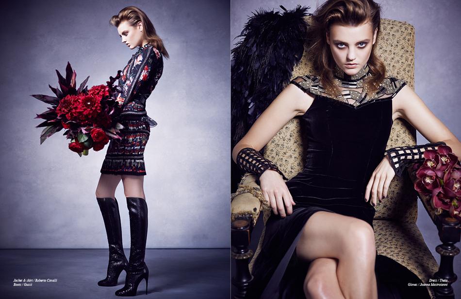 Left Jacket & skirt / Roberto Cavalli Boots / Gucci Right Dress / Theia Gloves / Joanna Mastroianni