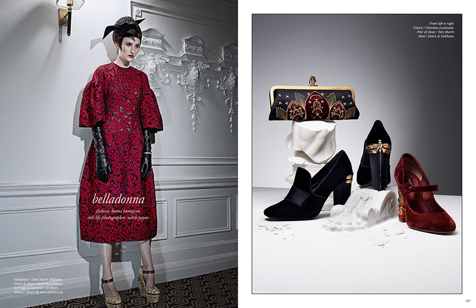 Left Headpiece / Jane Taylor Millinery Dress & shoes / Dolce & Gabbana Earrings & bracelet / De Beers Gloves / Gucci @ net-a-porter.com Right From left to right Clutch / Christian Louboutin Pair of shoes / Tory Burch Shoe / Dolce & Gabbana
