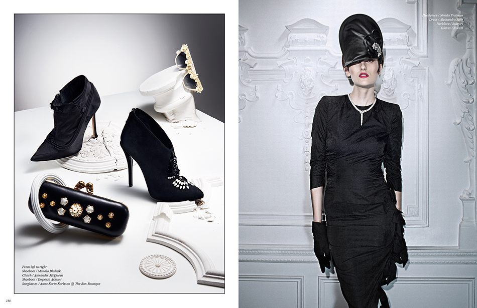 Left From left to right Shoeboot / Manolo Blahnik Clutch / Alexander McQueen Shoeboot / Emporio Armani Sunglasses / Anna Karin Karlsson @ The Box Boutique Right Headpiece / Nerida Fraiman Dress / Alessandra Rich Necklace / Bulgari Gloves / Roeckl