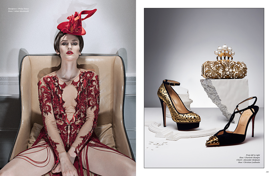 Left Headpiece / Philip Treacy Dress / Julien Macdonald Right From left to right Shoe / Charlotte Olympia Clutch / Alexander McQueen Shoe / Christian Louboutin
