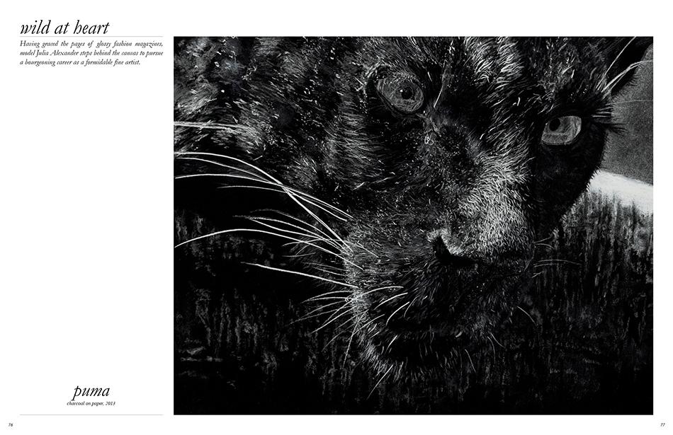 Julia Alexander / Puma charcoal on paper, 2013