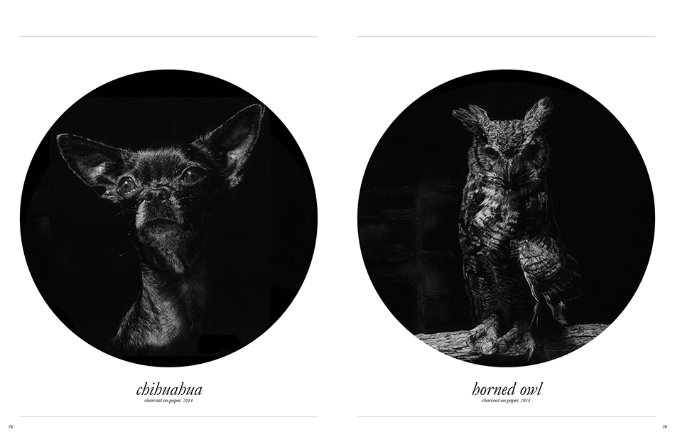 Chihuahua charcoal on paper, 2013/ Horned Owl charcoal on paper, 2013