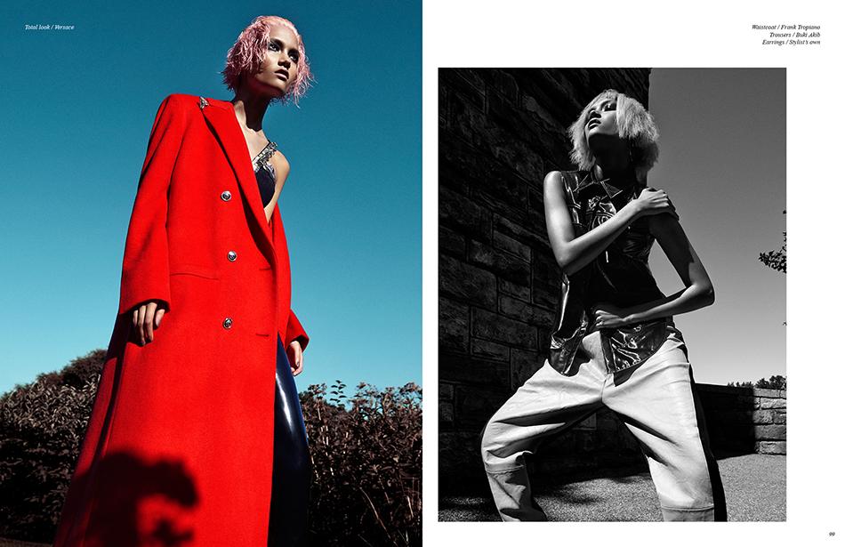 Left Total look / Versace Right Waistcoat / Frank Tropiano Trousers / Buki Akib Earrings / Stylist's own
