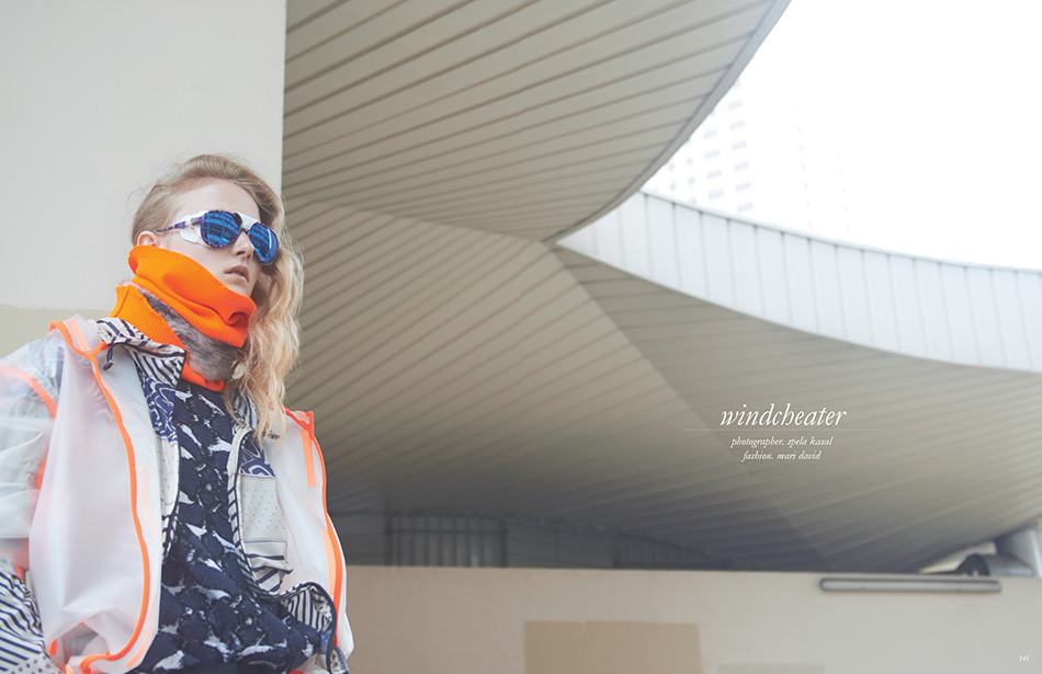 Photographer / Spela Kasal Fashion / Mari David Previous spread Trousers & top / BCBGMAXAZRIA Coat / Y-3 for Men Windcheater / Pierre-Louis Mascia Fur choker / WUNDERKIND Orange collar / Regain Sunglasses / Selima Optique