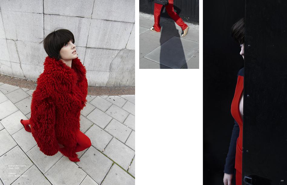 Left/ Coat & skirt / Loewe Shoes / DVF Right/ Dress / Roland Mouret