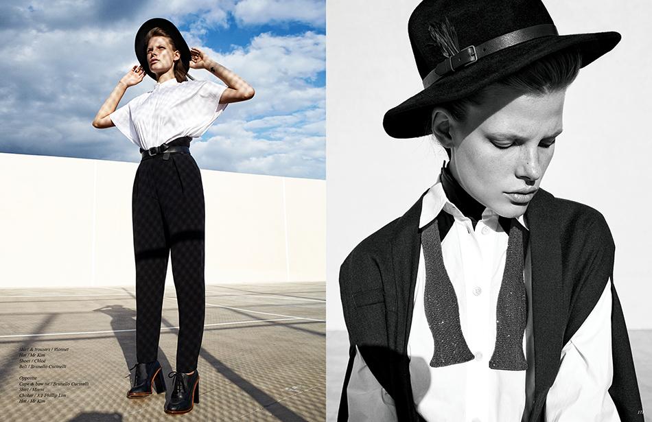 Left Shirt & trousers / Vionnet Hat / Mr Kim Shoes / Chloé Belt / Brunello Cucinelli Right Cape & bow tie / Brunello Cucinelli Shirt / Marni Choker / 3.1 Phillip Lim Hat / Mr Kim