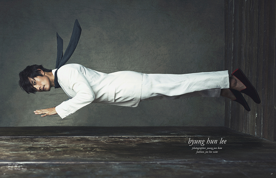 Photographer / Young Jun Kim Fashion / Joo Hee Nam Suit / Prada Scarf / Gucci Shoes / Bottega Veneta