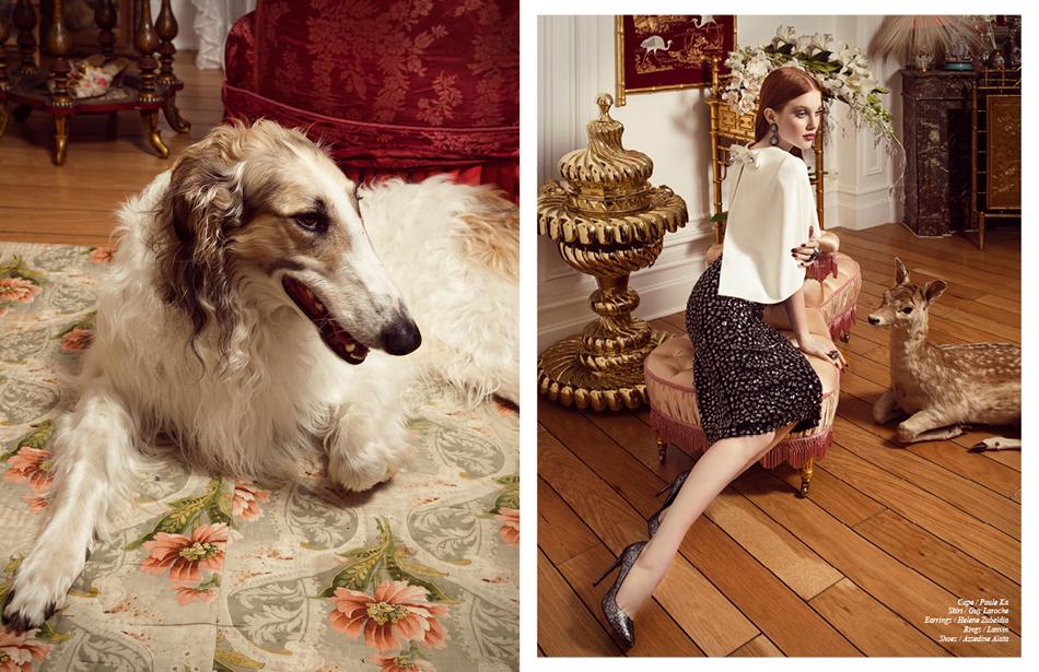 Cape / Paule Ka Skirt / Guy Laroche Earrings / Helene Zubeldia Rings / Lanvin Shoes / Azzedine Alaïa