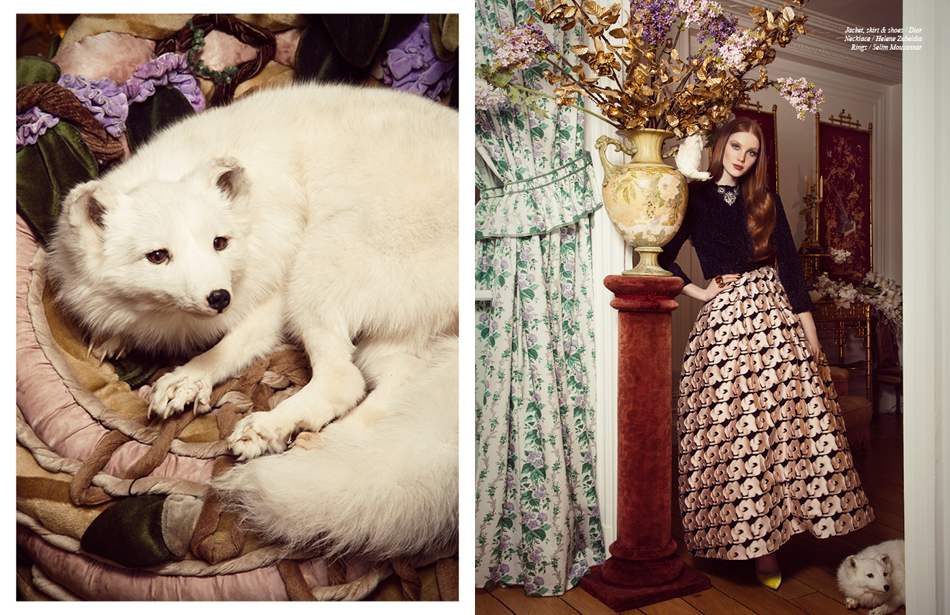 Jacket, skirt & shoes / Dior Necklace / Helene Zubeldia Rings / Selim Mouzannar