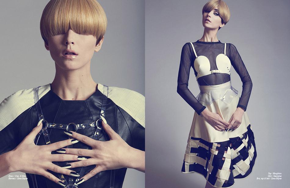 Left Dress / Cres. E Dim. Harness / Zana Bayne Right Top / Houghton Skirt / Georgine Bra, top & belt / Zana Bayne
