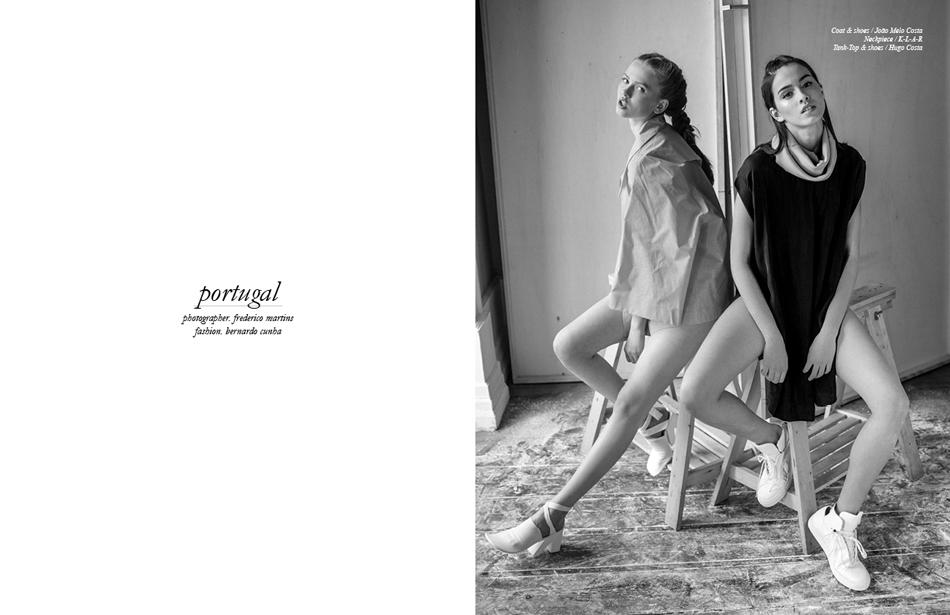 Photographer / Frederico Martins Fashion / Bernardo Cunha Coat & shoes / João Melo Costa Neckpiece / K-L-A-R Tank-Top & shoes / Hugo Costa