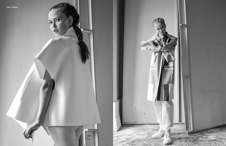 Left/ Coat / O Simone Right/ Coat / Mafalda Fonseca Pants and shoes / Hugo Costa