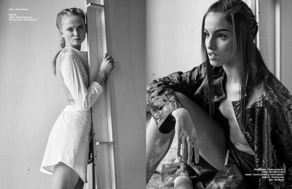 Left/ Dress / Joana Ferreira Right/ Jacket / Estelita Mendonça Skirt and shoes / Daniela Barros