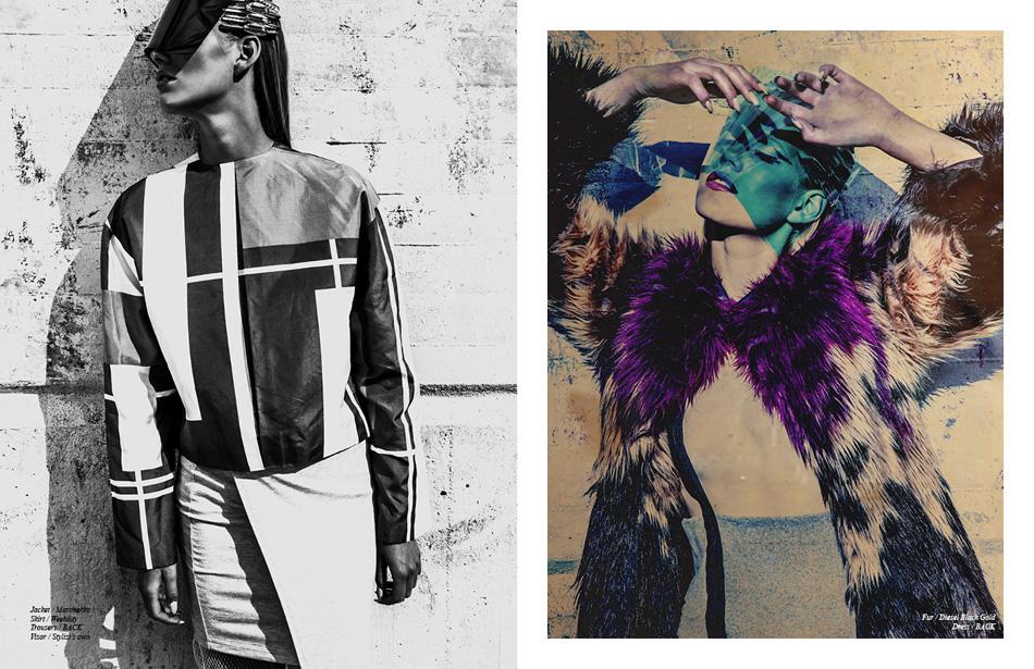 Left Jacket / Marimekko Skirt / Weekday Trousers / BACK Visor / Stylist's own Right Fur / Diesel Black Gold Dress / BACK Jacket / Marimekko Skirt / Weekday Trousers / BACK Visor / Stylist's own