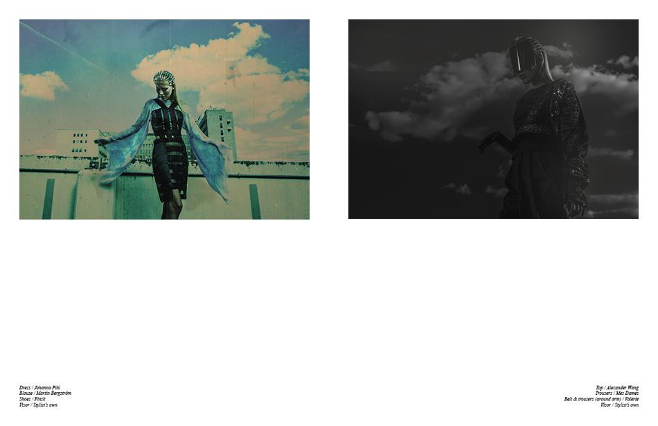 Left Dress / Johanna Pihl Blouse / Martin Bergström Shoes / Finsk Visor / Stylist's own Right Top / Alexander Wang Trousers / Mes Dames Belt & trousers (around arm) / Valerie Visor / Stylist's own