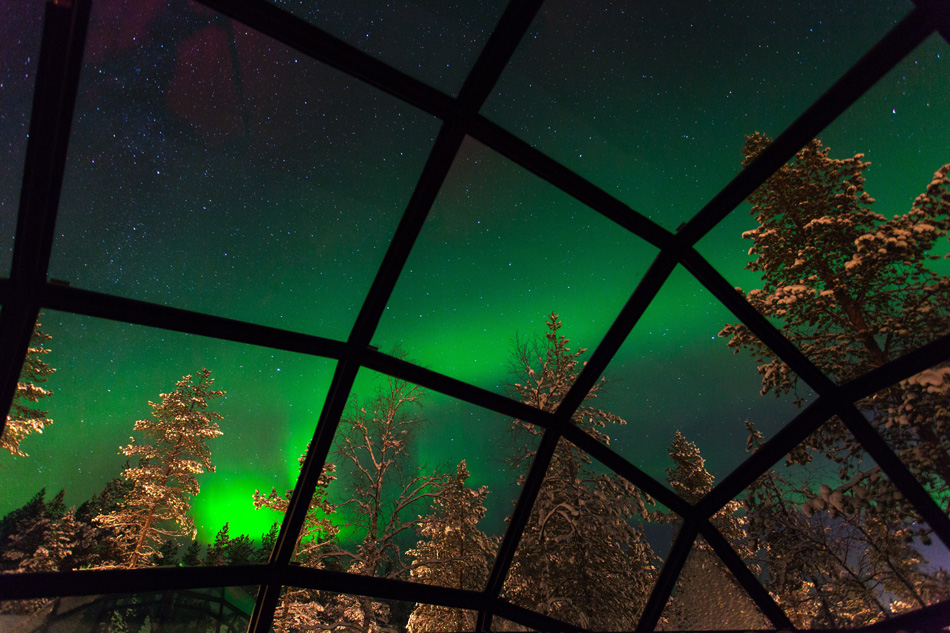 Watch the Aurora Borealis from your bed at Kakslauttanen Resort