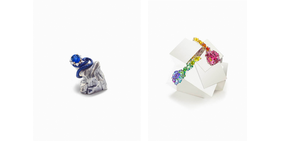 Left: Lunae Lumen Satine Baby Blue, 2013; Right: Vitam Industria Abstract Multi Candy (Earrings), 2013 a