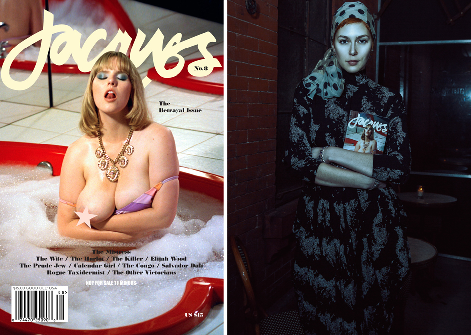 """Left: Jacques """"The Betrayal Issue"""" Right: Danielle Leder at Hotel Delmano in Brooklyn, NY, Photography Drew Malo Johnson"""