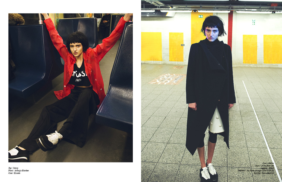 Left/ Top / Stüssy Pants / Anbasja Blanken Coat / Escada Right/ Coat / Avelon Short / Jivika Biervliet Legging / H&M Sneakers / No Name through Jutka & Riska Earring / Petra Reijrink