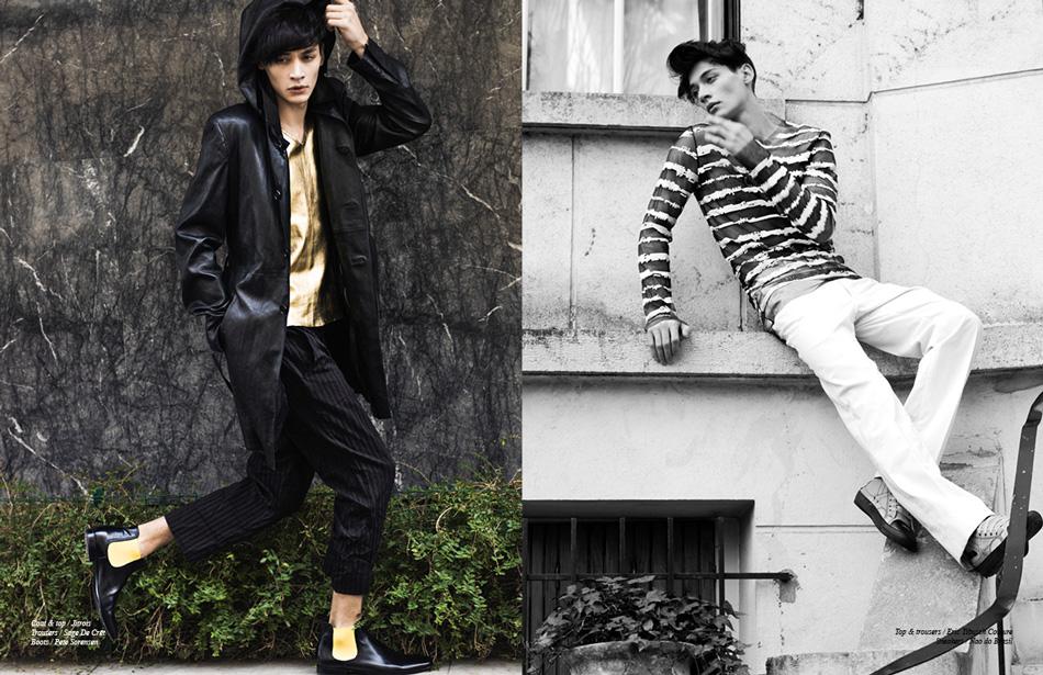 Left/ Coat & top / Jitrois Trousers / Sage De Crêt Boots / Pete Sorensen Right/ Top & trousers / Eric Tibusch Couture Sneakers / Nao do Brasil