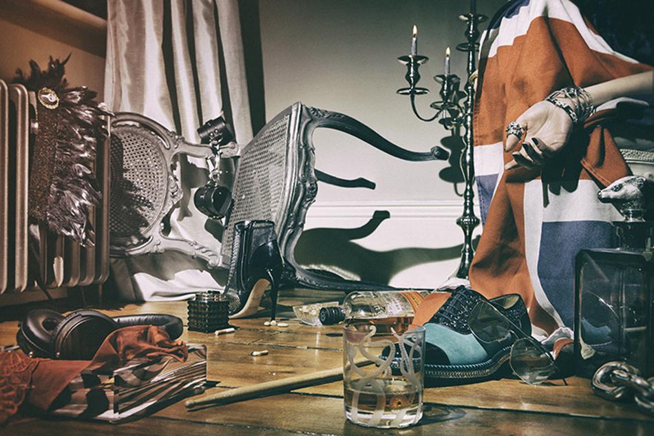 From left to right Briefs / Myla Bowl / Alexandra Von Furstenberg @ Gift Library Headphones / Meze Headpiece / Mystic Magic Lighter / Mario Cioni @ Gift Library Handcuffs / Fleet Ilya Boot / Jerome C. Rousseau Caviar bowl (part of a set) / LINLEY Bourbon / Bulleit Bourbon @ Alexander & James Tumbler / Asprey Shoe / Christian Louboutin Sunglasses / Adidas Eyewear #adidaseyewear @ adidas.com/eyewear Rings & bracelet / Cartier Cuff / Stephen Webster Decanter / Asprey Chain-link / Ralph Lauren Home