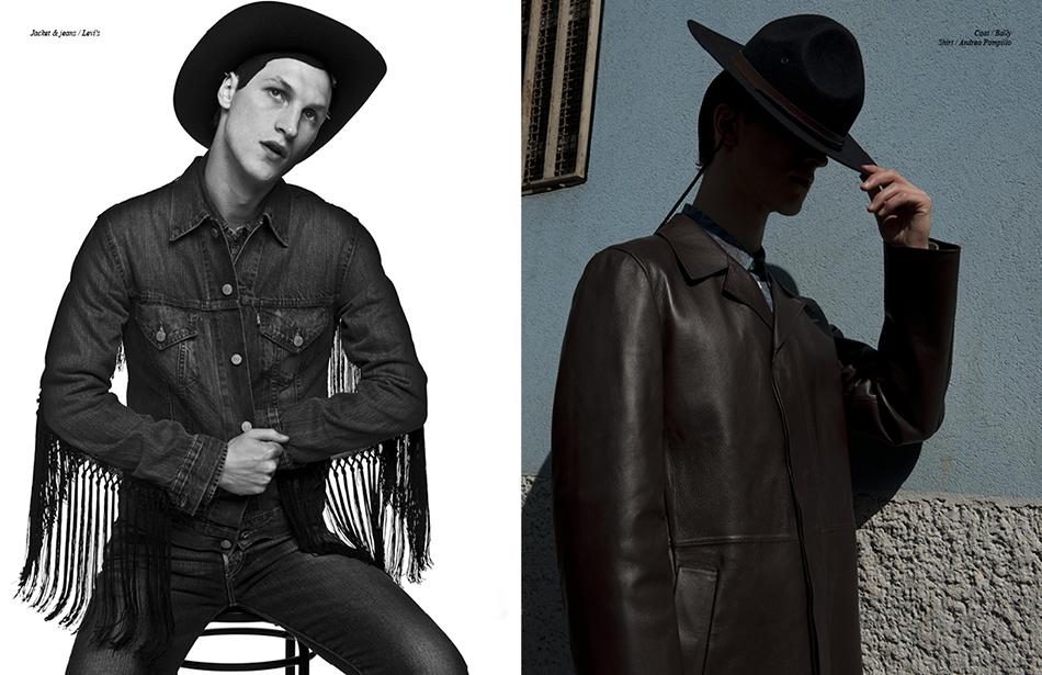Left Jacket & jeans / Levi's Right Coat / Bally  Shirt / Andrea Pompilio