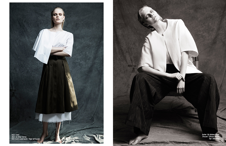 Left Shirt / COS Skirt / & Other Stories Skirt (worn underneath) / Tiger Of Sweden  Right Jacket / By Malene Birger Trousers / Bruuns Bazaar Top / Max Mara