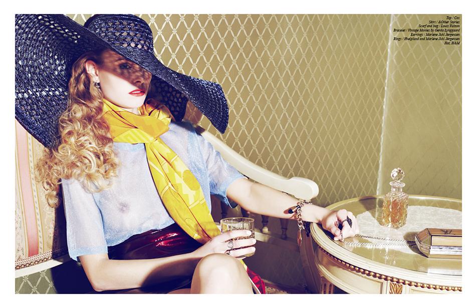 Top / Cos  Skirt / &Other Stories  Scarf and bag / Louis Vuitton Bracelet / Vintage Monies by Gerda Lynggaard Earrings / Marlene Juhl Jørgensen  Rings / Hvelplund and Marlene Juhl Jørgensen  Hat, H&M