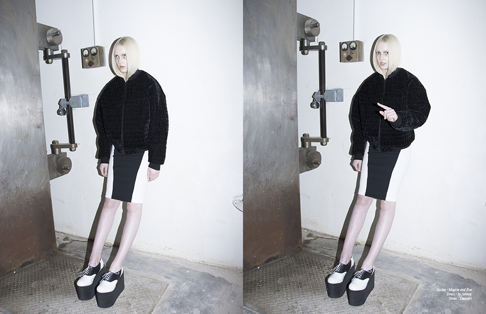 Jacket / Maurie and Eve  Dress / by johnny  Shoes / Deandri