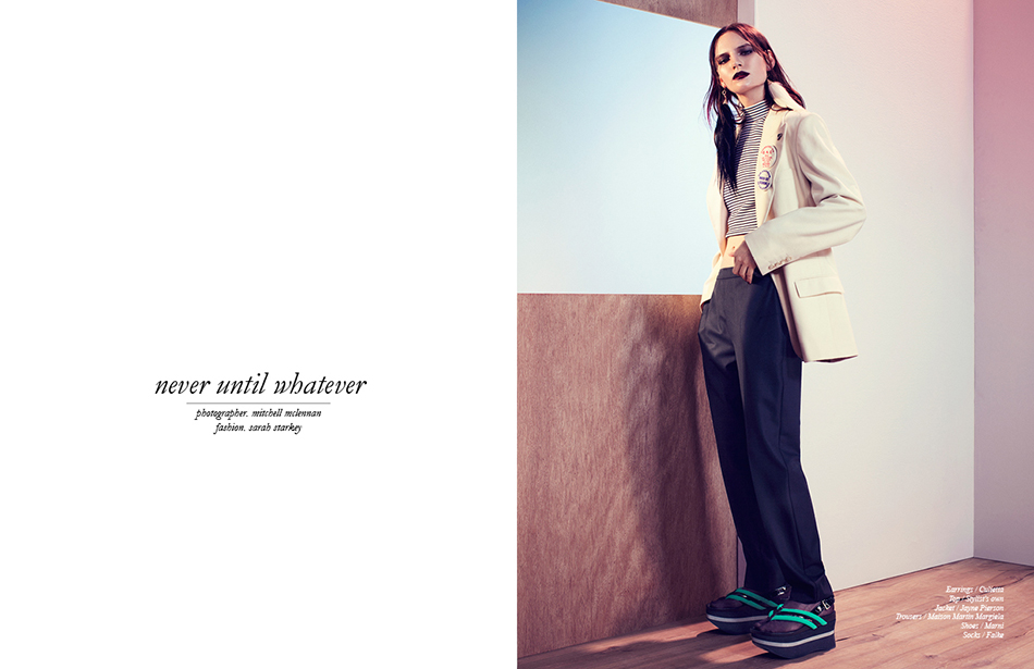 Earrings / Culietta Top / Stylist's own Jacket / Jayne Pierson Trousers / Maison Martin Margiela Shoes / Marni Socks / Falke