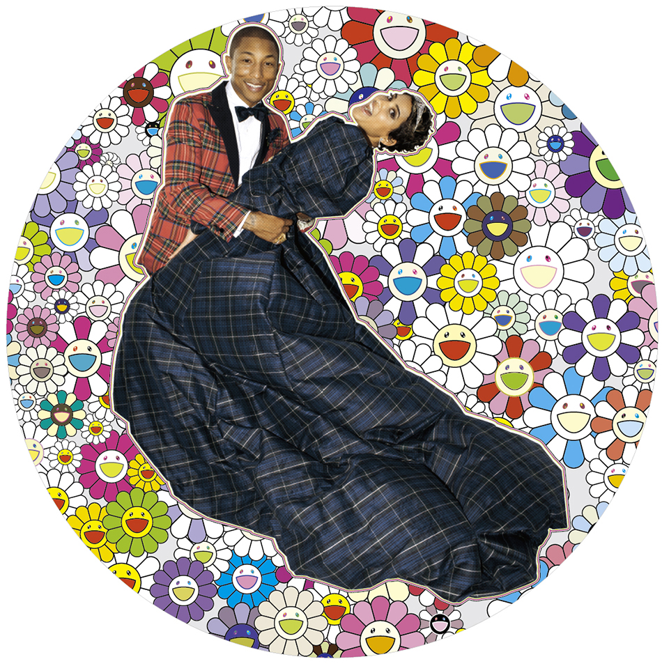 Takashi Murakami Portrait of Pharrell and Helen - Dance, 2014 Acrylic and platinum leaf on canvas mounted on board (Photo by Terry Richardson) φ1500 mm ©2014 Takashi Murakami/Kaikai Kiki Co., Ltd. All Rights Reserved. Courtesy Galerie Perrotin