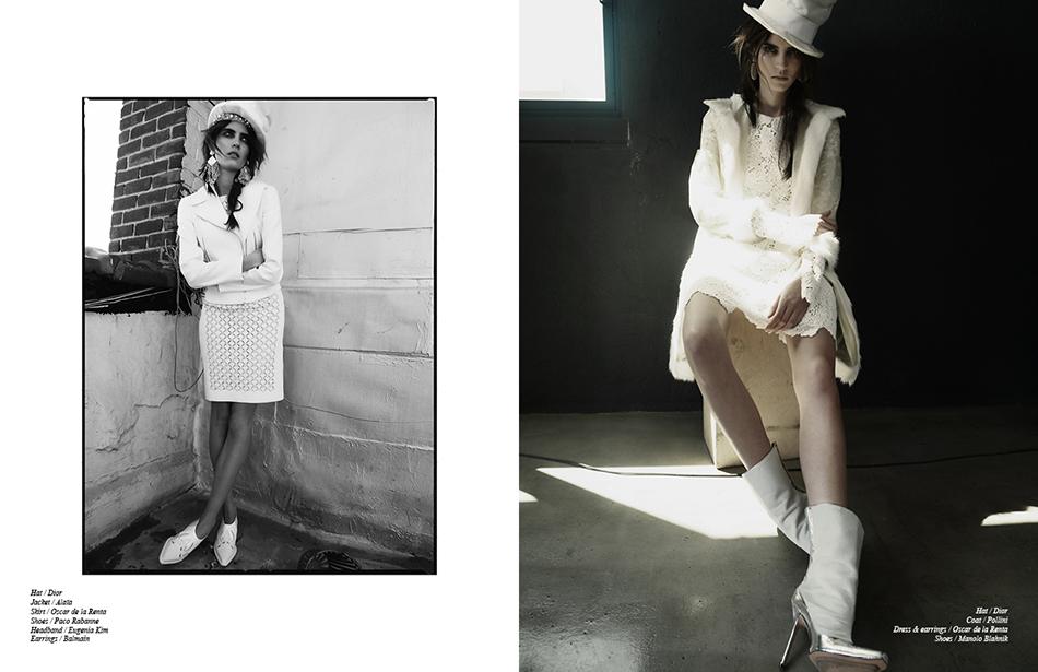Left Hat / Dior Jacket / Alaïa Skirt / Oscar de la Renta Shoes / Paco Rabanne Headband / Eugenia Kim Earrings / Balmain Right Hat / Dior  Coat / Pollini Dress & earrings / Oscar de la Renta  Shoes / Manolo Blahnik