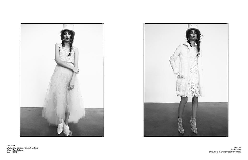 Left Hat / Dior Dress, top & earrings / Oscar de la Renta  Shoes / Paco Rabanne Rings / KMO Right Hat / Dior  Coat / Pollini  Dress, shoes & earrings / Oscar de la Renta