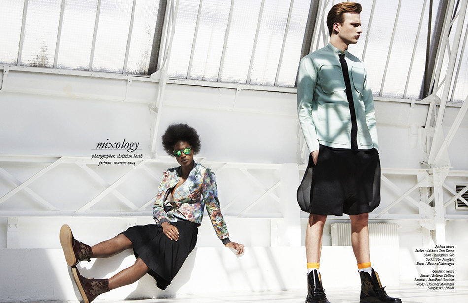 Joshua wears Jacket / Adidas x Tom Dixon Short / Byungmun Seo Socks / Von Jungfeld  Shoes / House of Montague Gauderic wears  Jacket / Roberto Collina Sarouel / Jean Paul Gaultier Shoes / House of Montague Sunglasses / Police