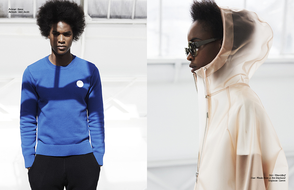 Left Pullover / Kenzo Bermuda / Marc Jacobs Right Shirt / Viktor&Rolf  Coat / Wanda Nylon @ Tom Greyhound  Sunglasses / Lanvin