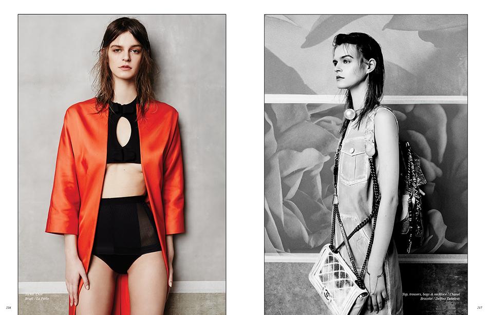 Left Jacket /Dior Briefs / La Perla Right Top, trousers, bags & necklace / Chanel  Bracelet / Delfina Delettrez