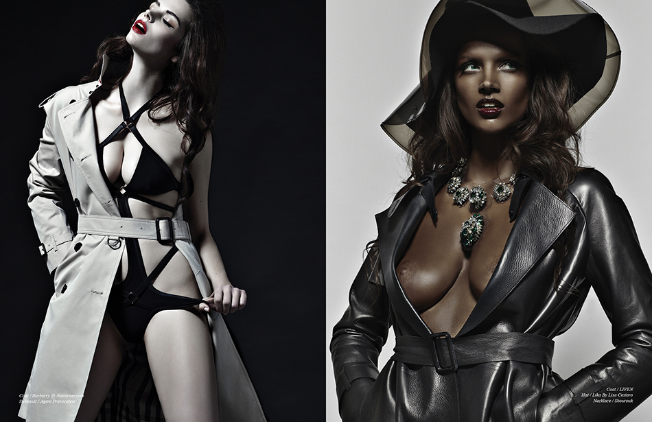 Left Coat / Burberry @ thecorner.com  Swimsuit / agent Provocateur Right Coat / LIVEN  Hat / Lika By Lisa Cestaro Necklace / Shourou