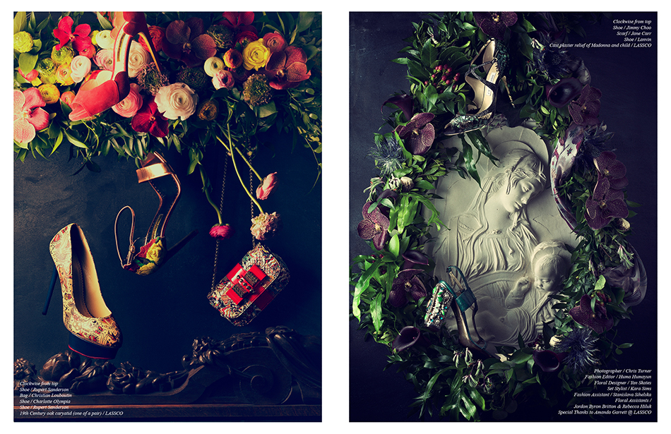 Left Clockwise from top Shoe / Rupert Sanderson Bag / Christian Louboutin Shoe / Charlotte Olympia Shoe / Rupert Sanderson 19th Century oak caryatid (one of a pair) / LASSCO Right Clockwise from top  Shoe / Jimmy Choo Scarf / Jane Carr  Shoe / Lanvin Cast plaster relief of Madonna and child / LASSCO