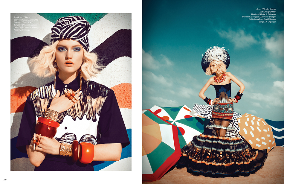 Left Top & skirt / Kenzo Scarf (on head) / Marimekko  Earrings / LARUICCI Bangles / Dinosaur Designs Gold Cuffs / Vanessa Mooney Rings / J. Urquiaga Right Dress / Nicolas Jebran  Hat / Philip Treacy Earrings / Dolce & Gabbana Necklace & bangles / Dinosaur Designs Cable bracelets / David Yurman Rings / J. Urquiaga