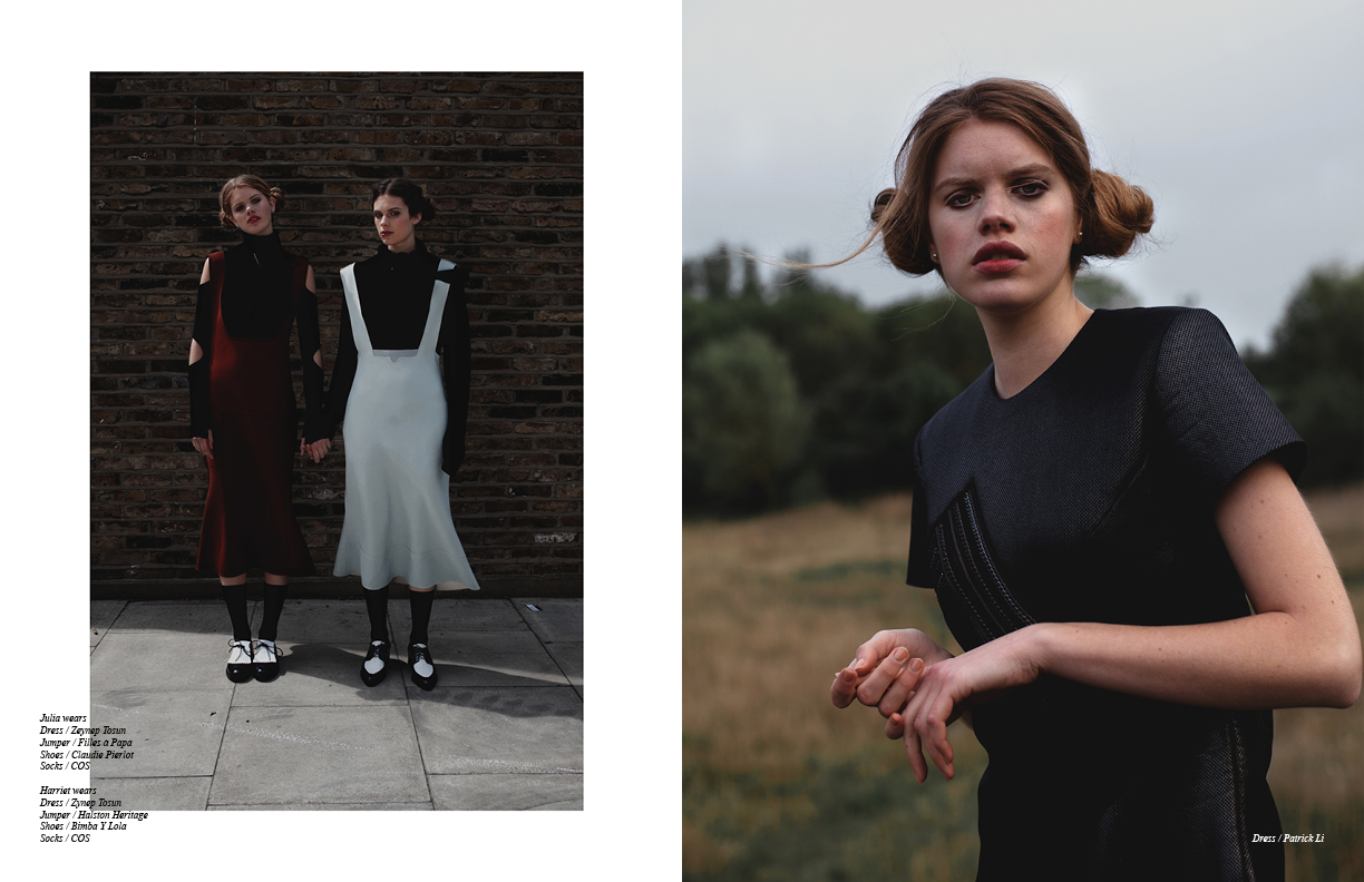 Left Julia wears Dress / Zeynep Tosun Jumper / Filles à Papa Shoes / Claudie Pierlot Socks / COS Harriet wears Dress / Zynep Tosun Jumper / Halston Heritage Shoes / Bimba Y Lola Socks / COS Right Dress / Patrick Lee